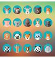 flat style animal portraits or avatars icon vector image