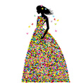 Woman dressed in spring flowers and butterflies vector image