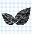 icon leaf with pen effect on paper vector image