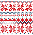 Blue and red Christmas Nordic seamless pattern vector image