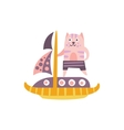 Cat On A Sailing Boat Stylized Fantastic vector image