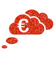 euro dream clouds icon grunge watermark vector image