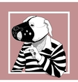 Hand drawn portrait of Dog monochrome vector image