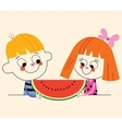 little boy and little girl with watermelon vector image