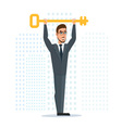 Businessman or manager holds a golden key in his vector image