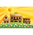 Different wooden houses at the top of the hills vector image vector image