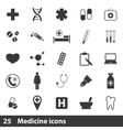 25 medical simple icons set vector image