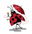 funny cartoon ladybug pinup vector image