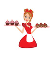 Pin Up housewife serving chocolate cupcakes vector image