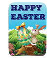 Easter bunny with decorated egg vector image