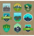 Set of outdoors adventure and expedition badges vector image