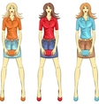 fashion girls top model with clutches vector image