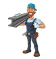 Hipster Repairman Cartoon Character Design vector image