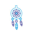 line cute dream catcher with feathers design vector image