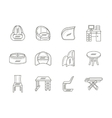 Linear tables and chairs icons collection vector image