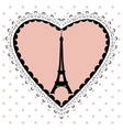 The Eiffel Tower in the frame of hearts vector image