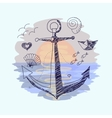 Anchor on the sunset background vector image