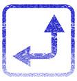 bifurcation arrow left up framed textured icon vector image