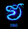 christmas card with blue fire snake on black vector image vector image