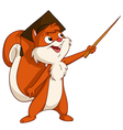 Squirrel in graduated hat with pointer vector image vector image