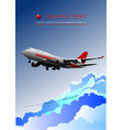 aircraft poster with passenger airplane image vector image vector image