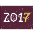 2017 White and yellow numerals with floral decor vector image