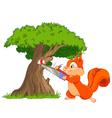 Funny squirrel saws tree branch vector image vector image