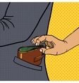 Thief steals wallet from pocket pop art vector image