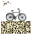 Bike concept with hipster gold background vector image
