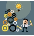 Businessman with ideas Happy funny character vector image