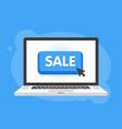 mouse cursor clicks the sale button laptop vector image