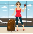woman holding her passport and tickets vector image