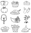art of thanksgiving element doodles vector image