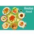 Meat dishes icon for festive dinner menu design vector image