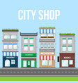 city street with shop pizza cafe and bakery vector image