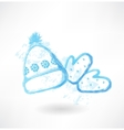 Winter hat and mittens grunge icon vector image