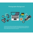 Photographer and videographer workspace vector image vector image
