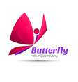 Butterfly colorful logo template with shadow on vector image