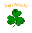 green leaf clover icon happy patrick day vector image