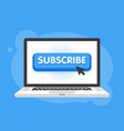 subscribe button with cursor in flat design for vector image