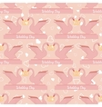 Wedding seamless pattern with pink swans hold gold vector image