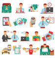 Man Daily Routine Icon Set vector image