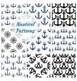 Nautical navy seamless patterns set vector image vector image