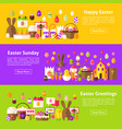 happy easter web horizontal banners vector image