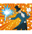 pop art of magician performing vector image