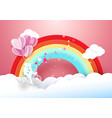 Sweet couple on bicycle flying with rainbow vector image