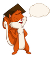 Squirrel in graduated hat with talk bubble vector image vector image