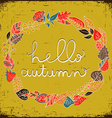 Autumn floral frame with leaves and text hello vector image