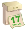 March 17 St Patrick Day Tear-off calendar March vector image