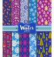 Winter seamless backgrounds vector image vector image